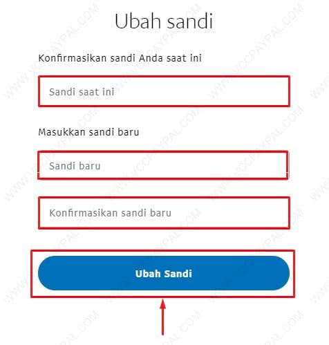 Cara mengganti password paypal
